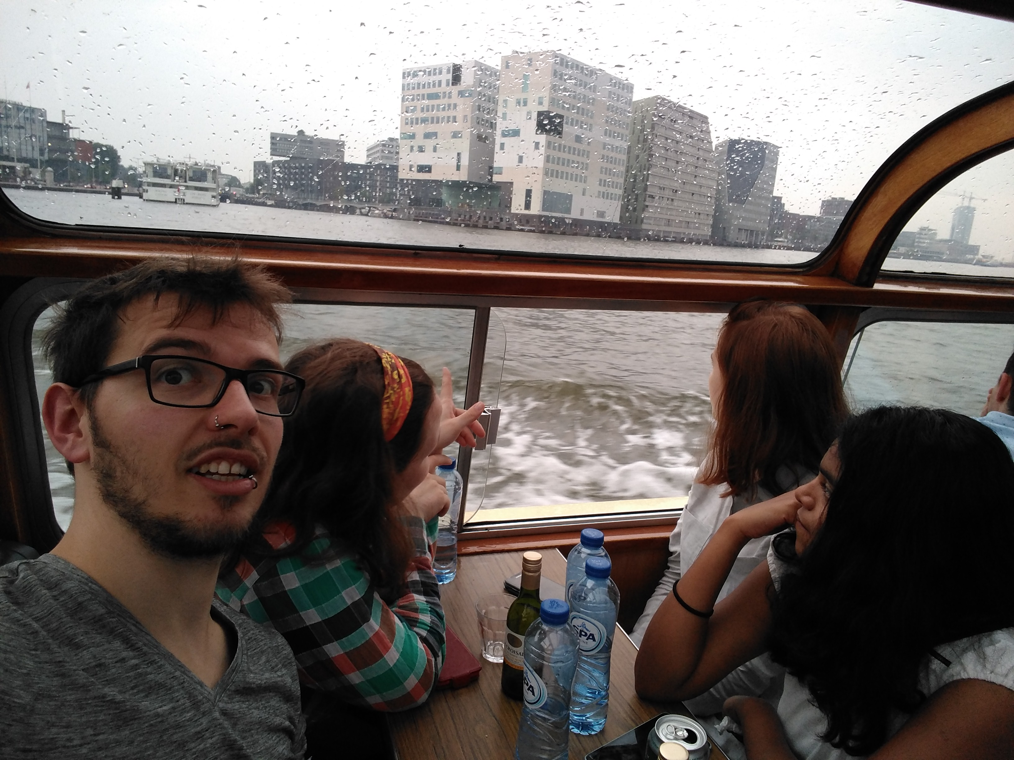 Selfie made during the boat tour through the canals of Amsterdam